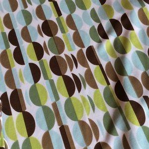 EUC Blue/Green/Brown Print Stretchy V-Neck Dress